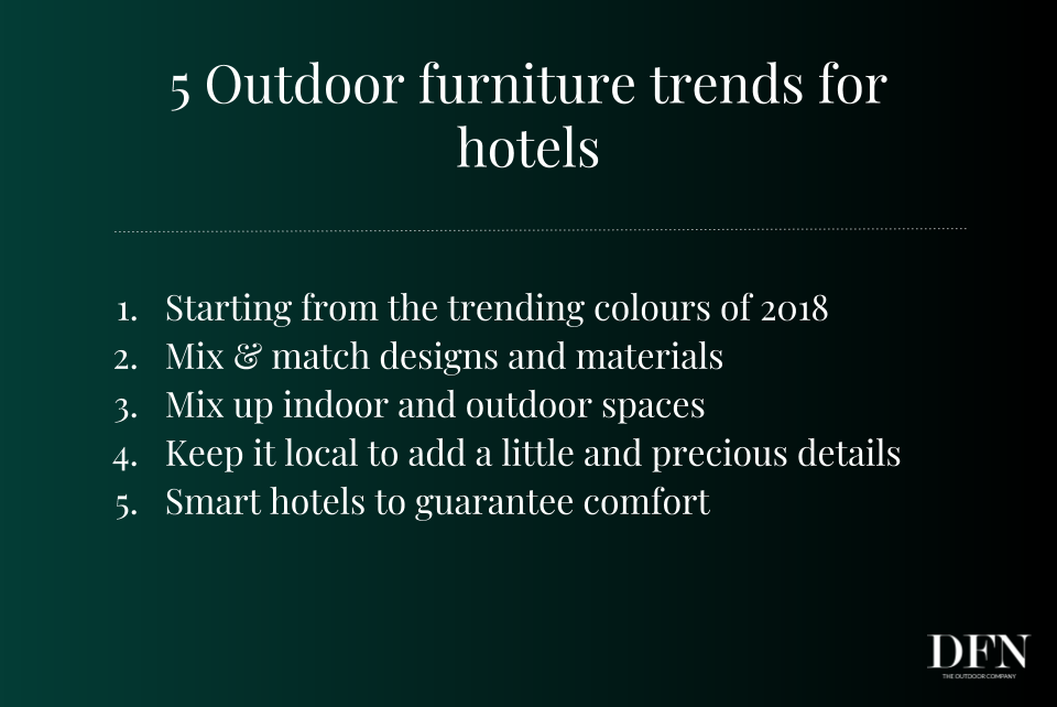 Outdoor furniture trends for hotels-list
