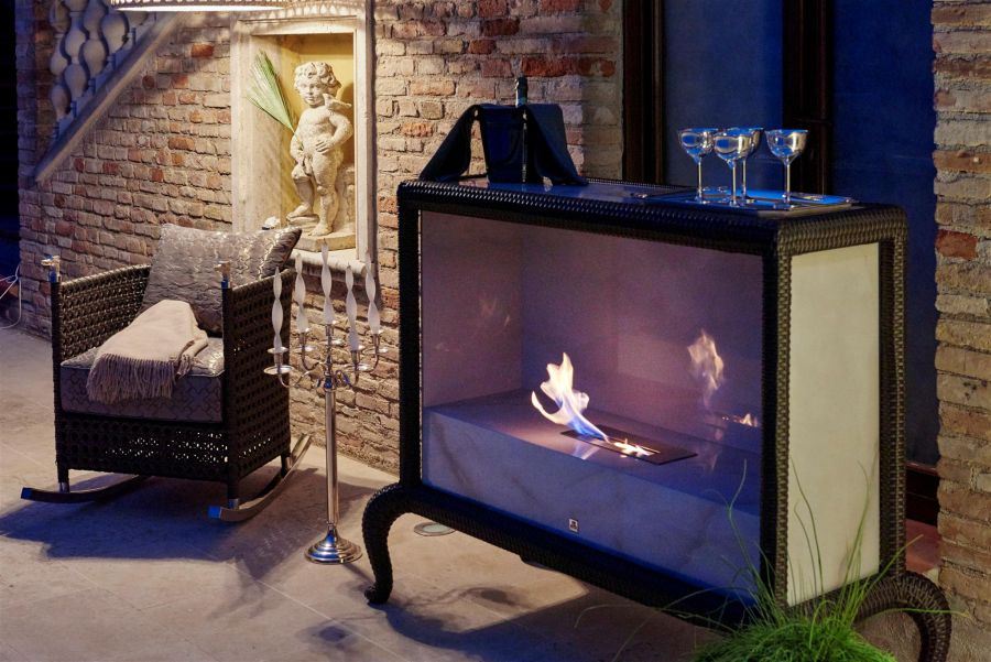 Outdoor spaces with fireplace-trendy