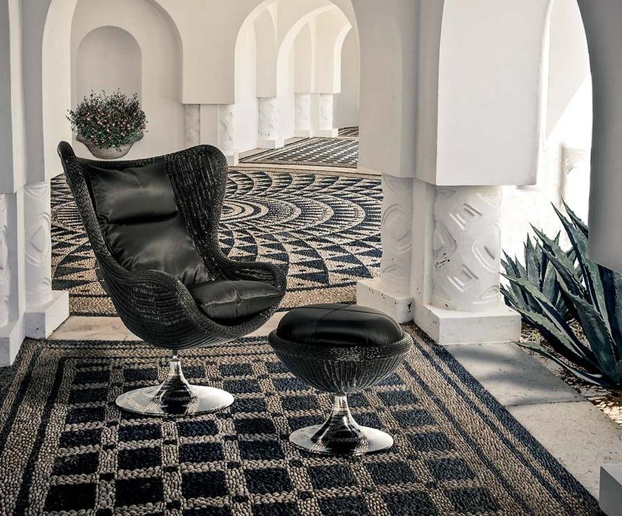 aldebaran black armchair and pouf