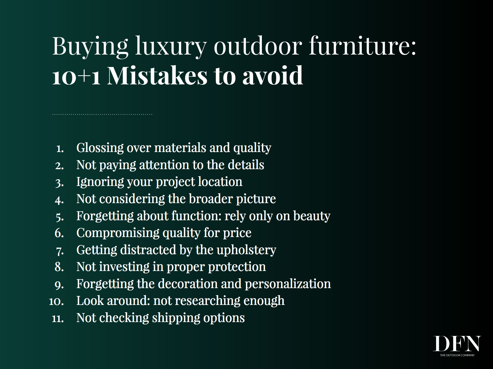 The luxury outdoor furniture buying guide for designers & architects