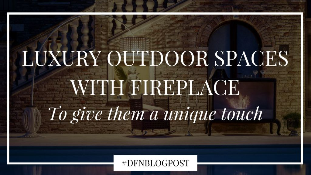 outdoor spaces with a fireplace
