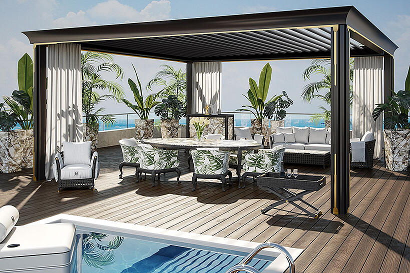 5+1 tips to keep in mind when designing a poolside lounge pergola